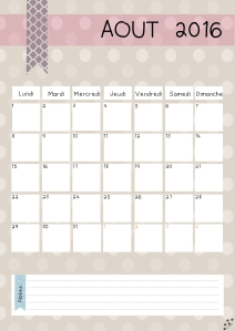 calendrier aout 2016