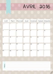 calendrier avril 2016