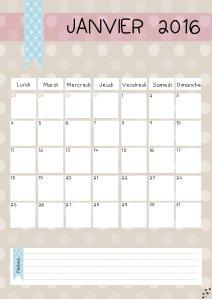 calendrier janvier 2016