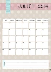 calendrier Juillet 2016
