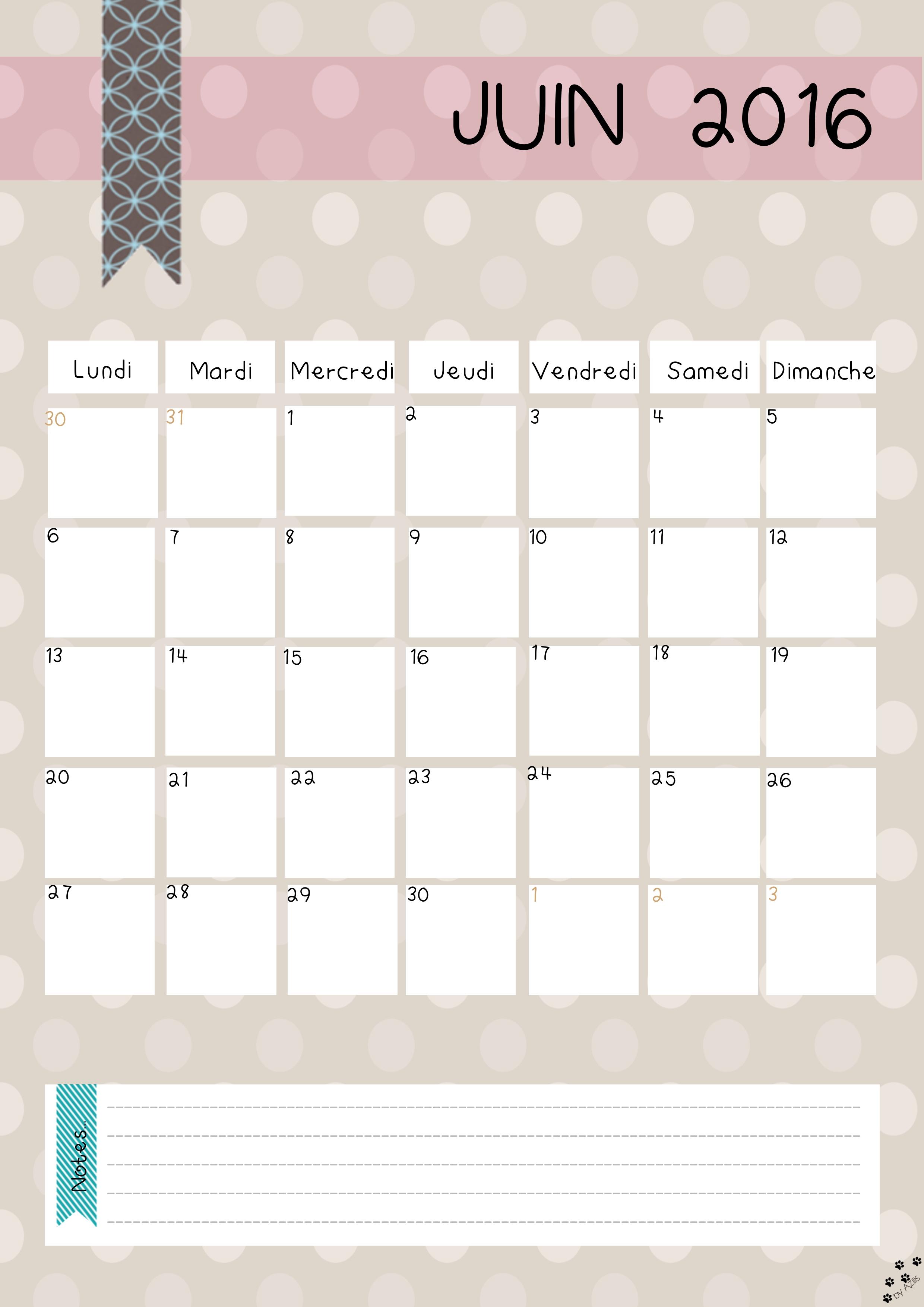 Diy calendrier 2016 gratuit imprimer for Calendrier jardin juin 2015