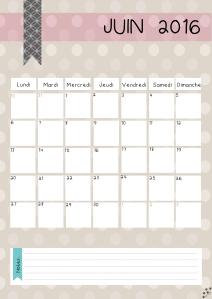calendrier juin 2016