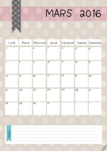 calendrier mars 2016