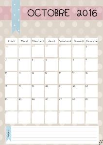 calendrier octobre 2016