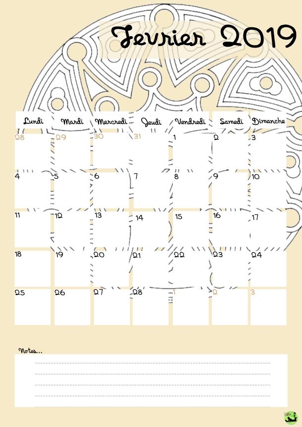 Calendrier février 2019